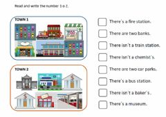 Interactive worksheet Town places