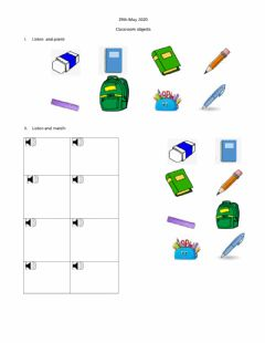 Interactive worksheet Classroom objects