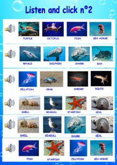 Interactive worksheet Listen and click SEA ANIMALS 2