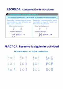 Interactive worksheet Comparación de fracciones