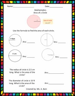 Interactive worksheet Area of a Circle