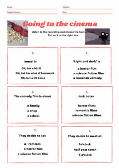 Interactive worksheet Going to the cinema