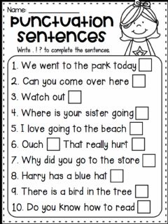 Interactive worksheet Punctuation Sentences
