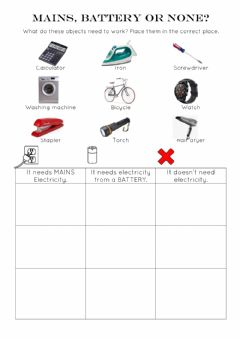 Interactive worksheet Electricity: mains, battery or none?