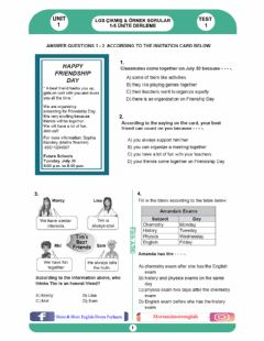 Interactive worksheet 8.1 Friendship