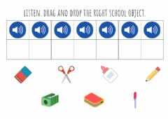 Interactive worksheet School objects drag and drop