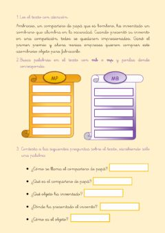 Interactive worksheet M antes de B y P