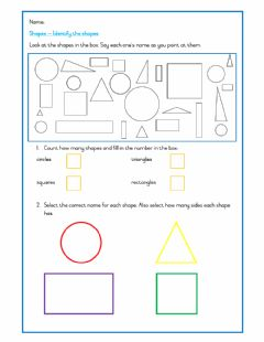 Ficha interactiva Shapes - names and sides