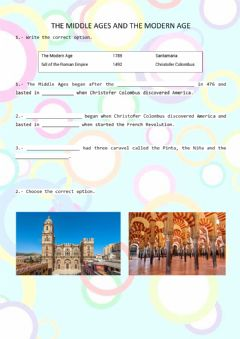 Interactive worksheet The Middle Ages and The Modern Age
