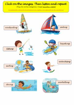 Interactive worksheet Water sports