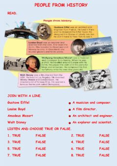 Interactive worksheet People from history