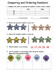 Interactive worksheet Comparing and Ordering Numbers