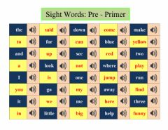 Ficha interactiva Sight Words: Pre-Primer