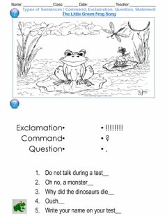 Interactive worksheet Types of Sentences - Command, Exclamation, Question, Statement The Little Green Frog Song