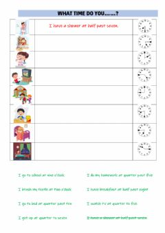 Interactive worksheet What time do you....