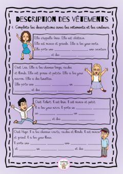 Interactive worksheet Description des vêtements