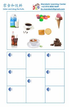 Interactive worksheet Snacks and drinks listening