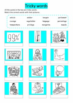 Interactive worksheet Tricky words