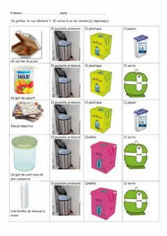 Interactive worksheet Recyclage