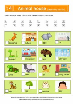 Ficha interactiva Animal house (beginning sounds)