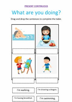 Interactive worksheet Present Continuous. Review