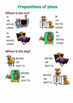 Interactive worksheet Prepositions of place 1
