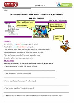 Interactive worksheet 7th Reported Speech-2 (Questions)
