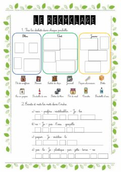Interactive worksheet Le recyclage