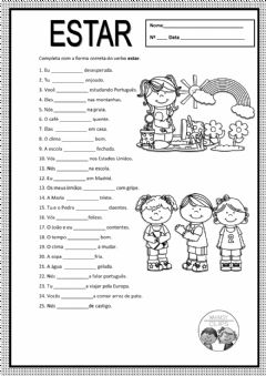 Interactive worksheet Verbo estar. Presente do indicativo.