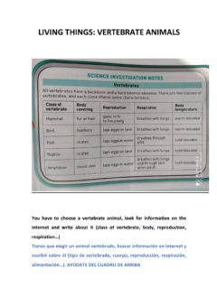 Interactive worksheet Vertebrate animals: WRITING