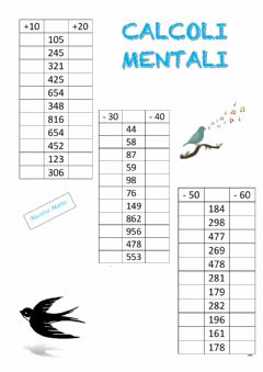 Interactive worksheet Calcoli mentali 5