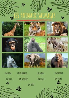 Interactive worksheet Les animaux sauvages.