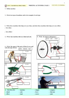 Interactive worksheet Machines & Structures. Page 1