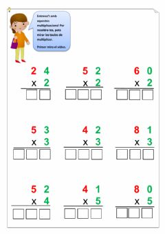 Interactive worksheet Multiplicar per una xifra