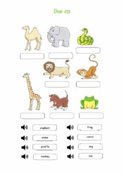 Interactive worksheet Dear zoo Wild animals