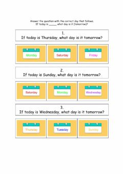 Interactive worksheet What day is it tomorrow?