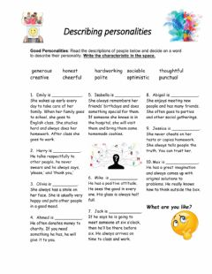 Interactive worksheet Describing personalities