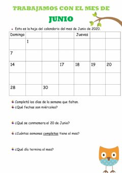 Interactive worksheet Calendario JUNIO