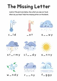 Ficha interactiva Missing Letters: Weather