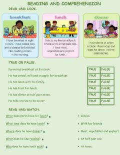 Interactive worksheet Meals