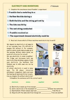 Ficha interactiva Electricity and inventions 1