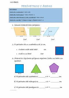 Interactive worksheet Áreas y perímetros