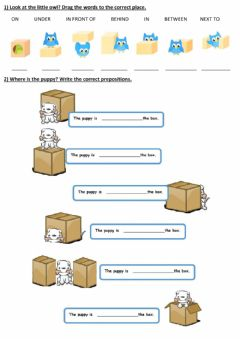 Interactive worksheet Let's practice prepositions of place