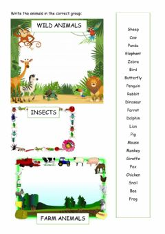 Interactive worksheet Wild animals insects and farm