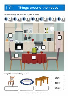Interactive worksheet Things around the house (listen, drag and drop)