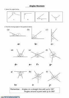 Interactive worksheet Finding missing angles