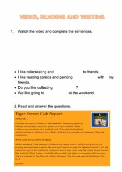Interactive worksheet Video, reading and writing