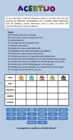 Interactive worksheet Acertijo