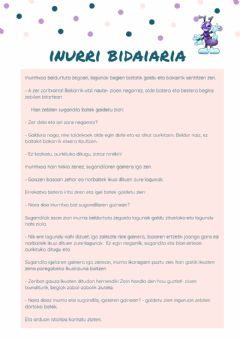 Interactive worksheet Inurriaren bidaia