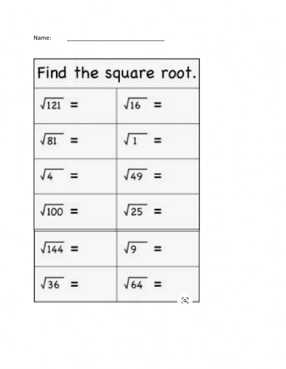 - Square Roots - Interactive Worksheet